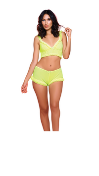 neon yellow mesh bralette and sleep short