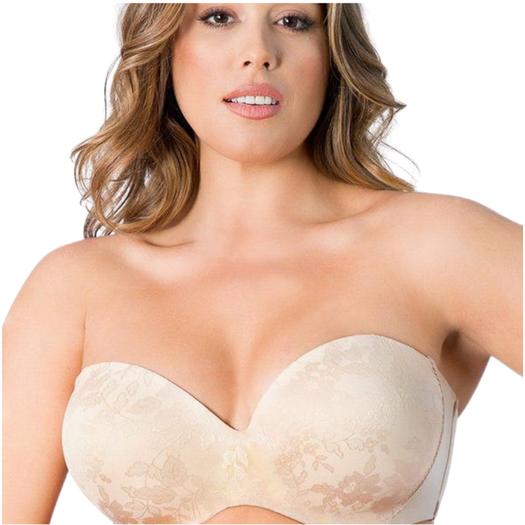 Nude Strapless Plus Size Lace Sexy Bra