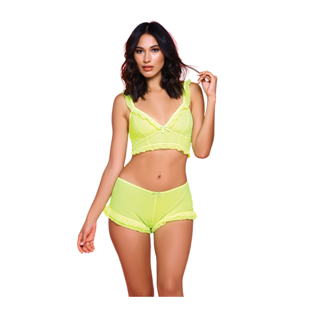 Mesh neon yellow bralette and short