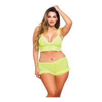 Plus size neon yellow bralette and short