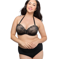 Sexy Black Plus Size strapless  bra and panty set