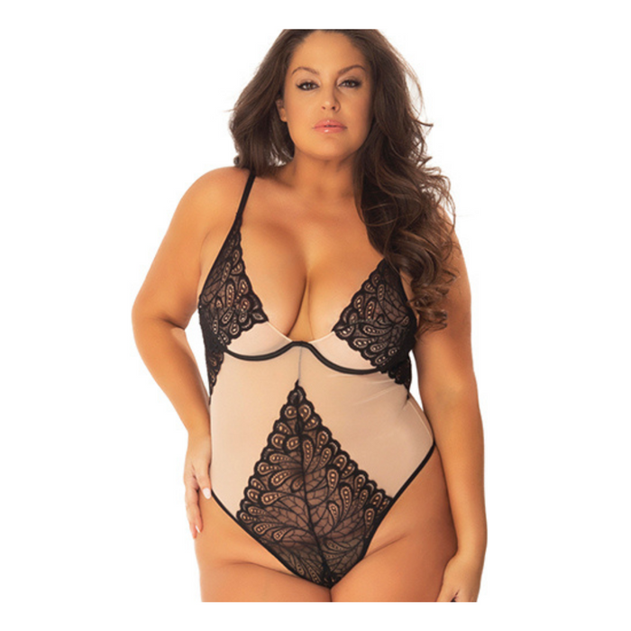 Sexy lace plus-size bodysuit