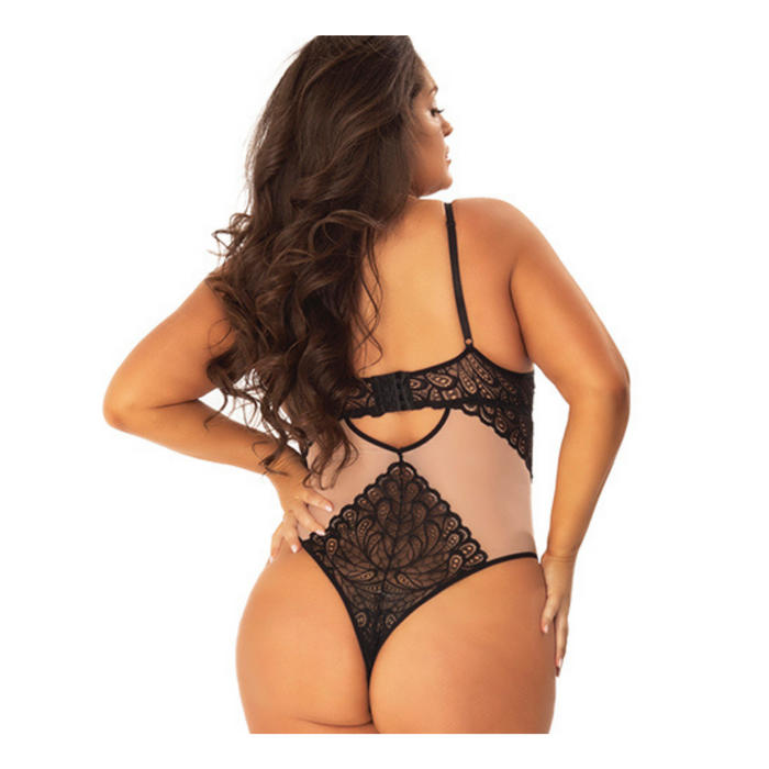sexy lace plus size thong bodysuit