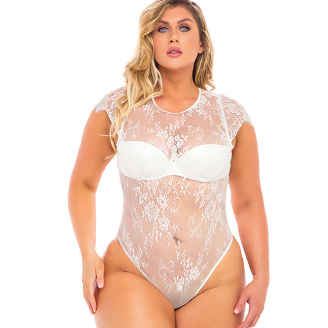 sexy white lace thong plus size bodysuit