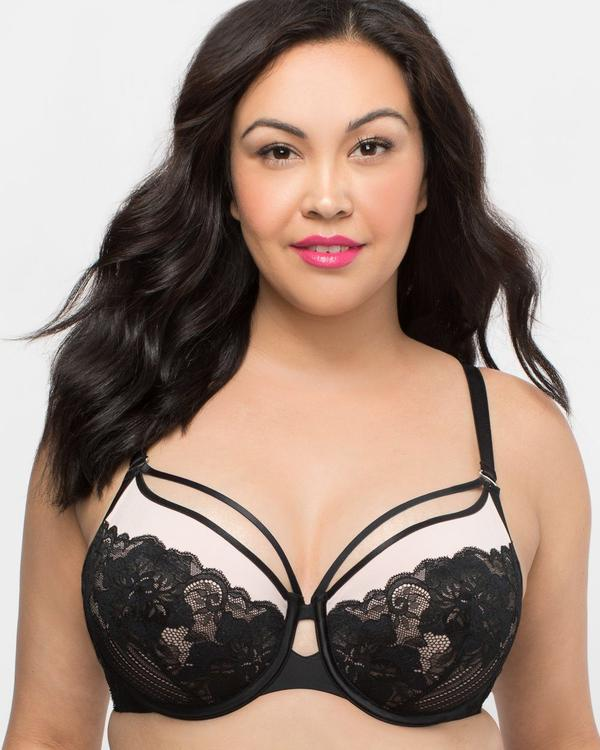 Curvy Couture Tulip Strappy Lace Push-Up Bra