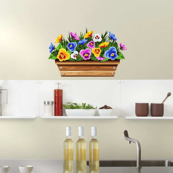 Window Box Violets Large Wall / Appliance Decal