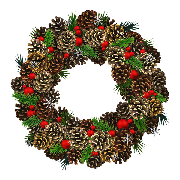 Pine Cone Wreath Static Cling
