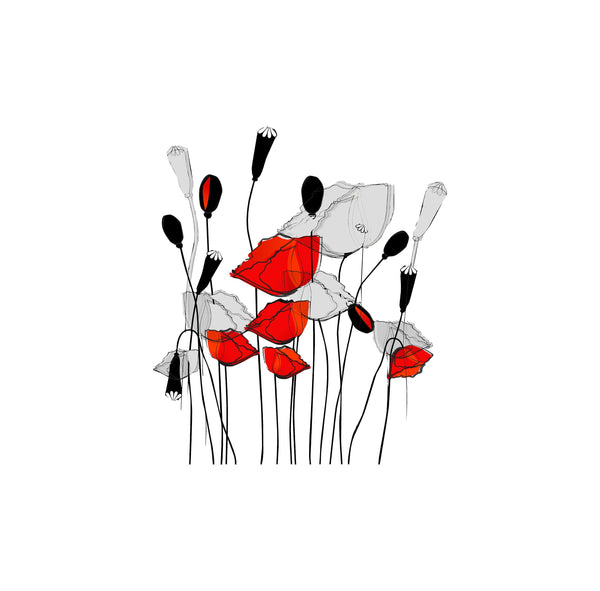 Abstract Poppies Vinyl Decal
