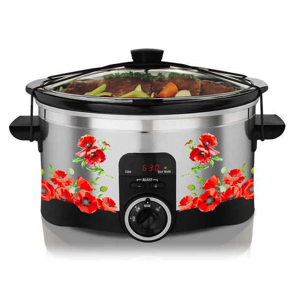 Watercolor Poppies Slow Cooker Decal