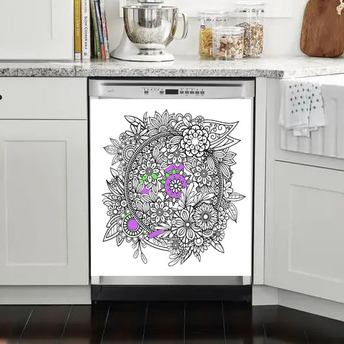 Floral Mandala Coloring Dry Erase Magnet for Dishwasher or Fridge