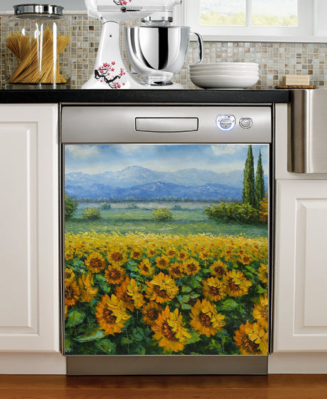 Sunflower Fields Print Dishwasher Magnet