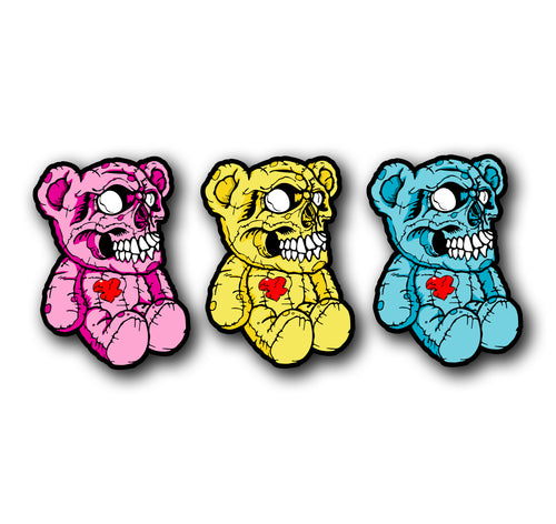 Skull Bears 3 Piece Decal Set