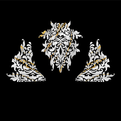 Gold Flecked Marble Damask Decal Set