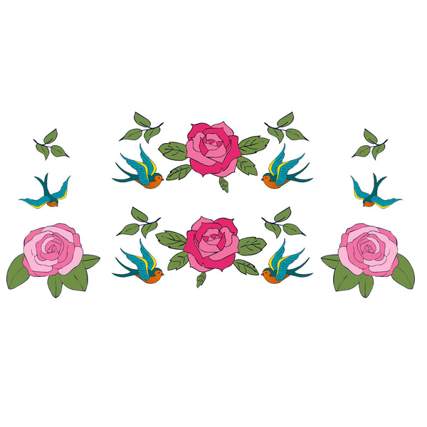 Tattoo Roses Decal Set