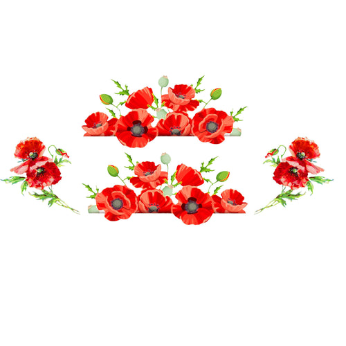Watercolor Poppies Decal Set