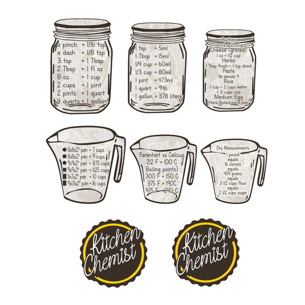 Kitchen Chemist - Measuring/Cooking Charts Decal Set