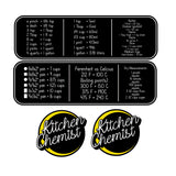 Kitchen Chemist - Measuring/Cooking Help Decal Set