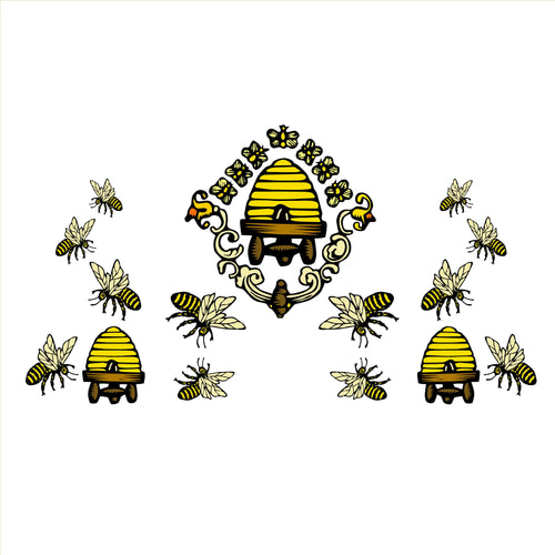 Vintage Bees Decal Set