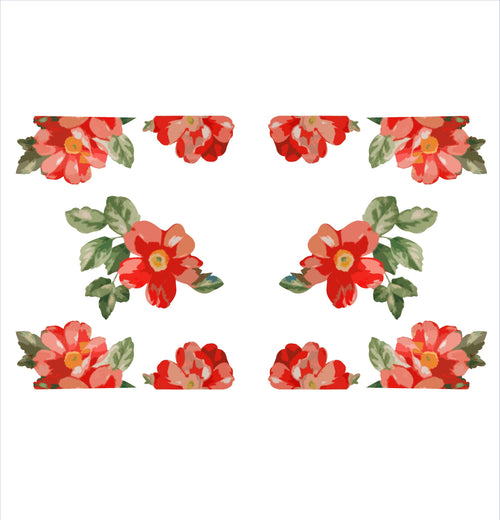Red Flower Woman Slow Cooker Decal Set