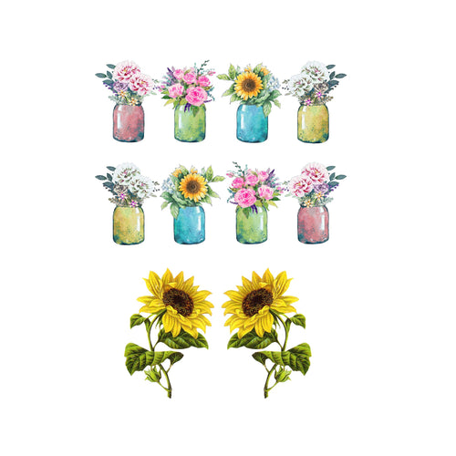 Mason Jar Flowers Mixer Decal Set
