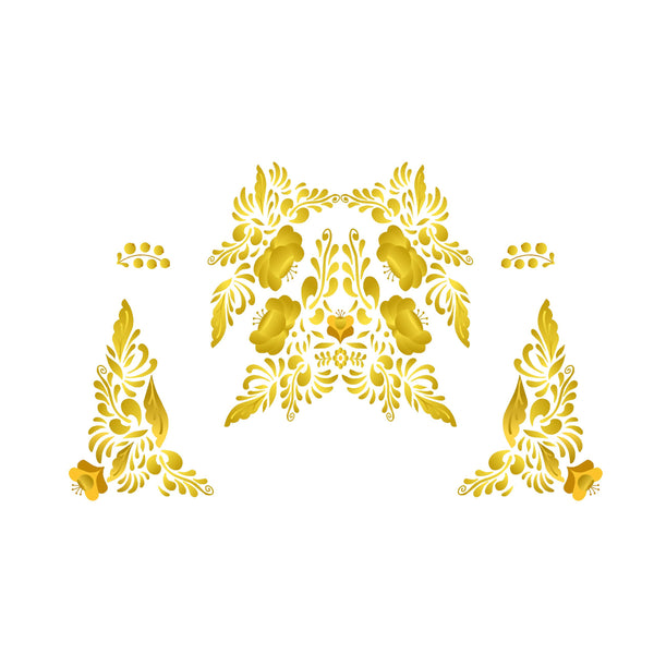 Yellow Gold Russian Folk Art Decal Set
