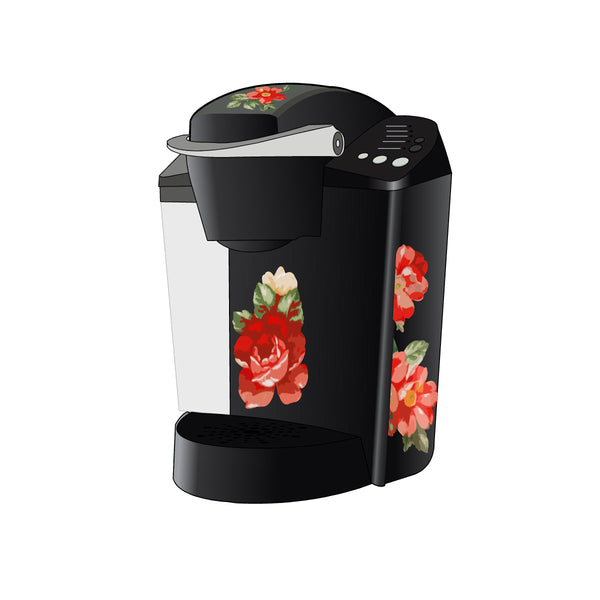 Red Flower Woman Decal for Keurig