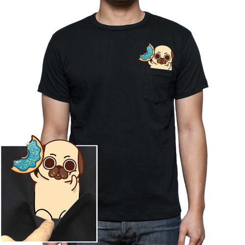Cute Glitter Donut Pocket Pug Tee