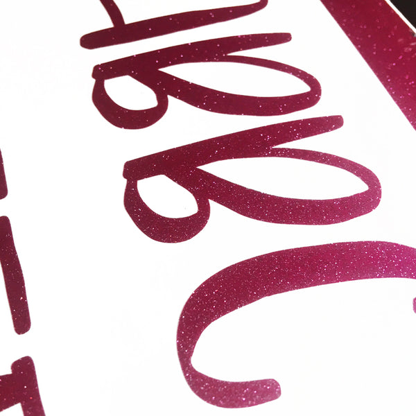 Magenta Glitter Adhesive Poster Letters