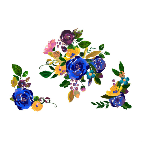 Blue Vintage Watercolor Floral Set