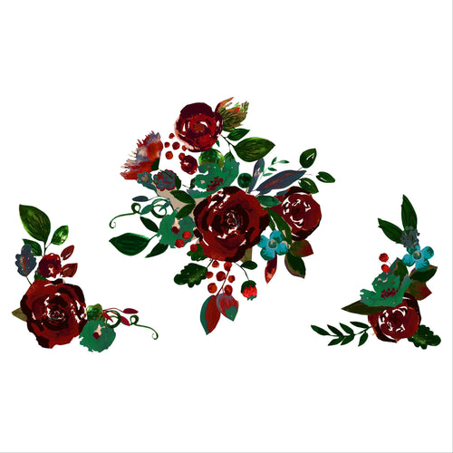 Burgundy Vintage Watercolor Floral Set
