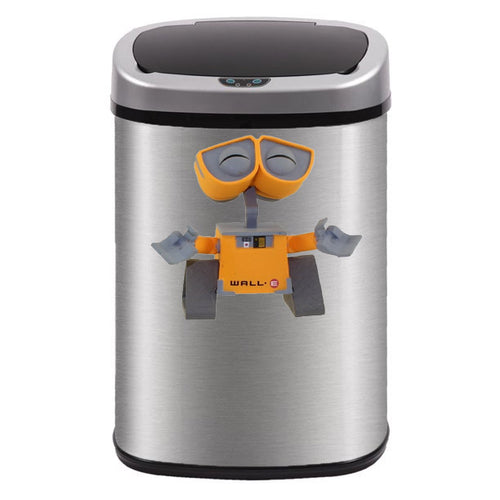 Cute Little Robot Trash Can Decal