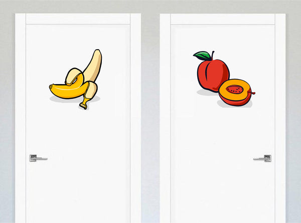 Banana / Peach Funny Bathroom Door Decal Set