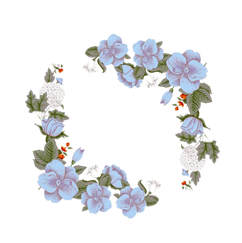 Blue Flower Border Static Cling