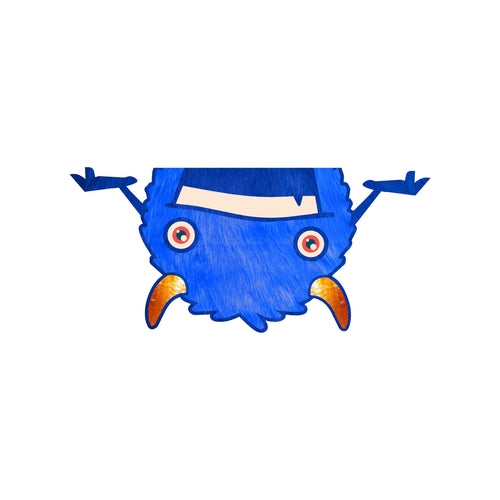 Fuzzy Blue Monster Trash Can Decal
