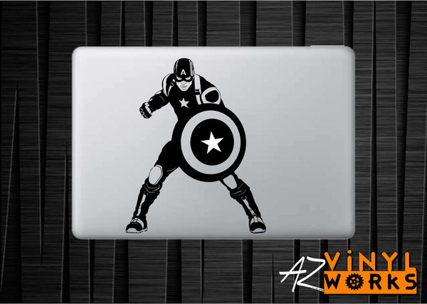 Detailed Captain America Stance Vinyl Decal for Mac