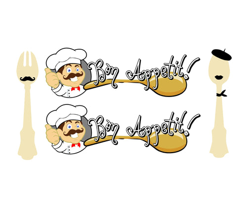 Cartoon Chef Bon Appetit Printed Vinyl Decal Set