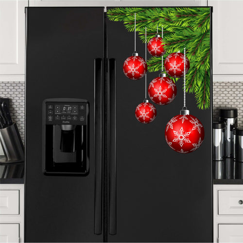 Christmas Balls Corner Vinyl Decal for Refrigerators, Dishwashers and More!