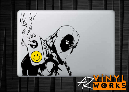 Dead Pool Inspired Smiley Face Gun Barrel Vinyl Decal for Mac