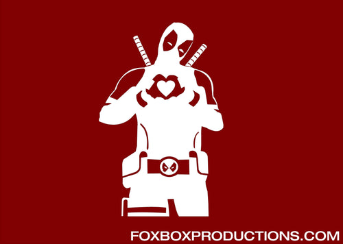 Dead Pool Heart Hands Vinyl Decal for Mac
