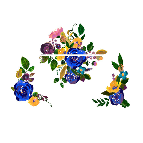 Blue Vintage Watercolor Floral Slow Cooker Decal