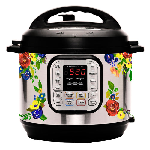 "Vintage Watercolor ""Primary"" Floral Slow Cooker Decal"