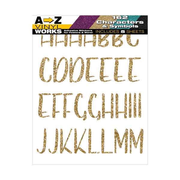 Gold Glitter Adhesive Poster Letters