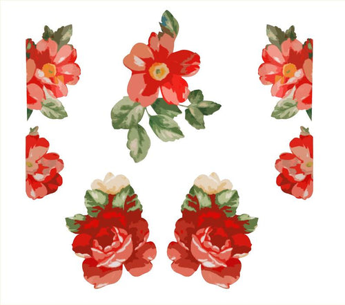 Red Flower Woman Set