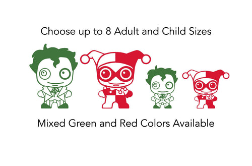 Joker and Harley Quinn Cute Chibi Stick Family Vinyl Decals for Your Car Window, Laptop and More!