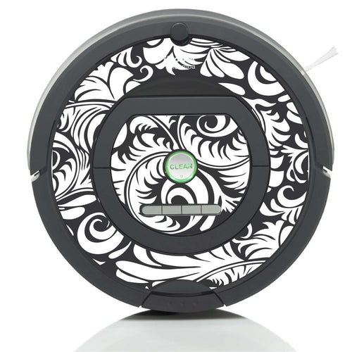 Flower Flourish Style Original Design Vinyl Decal - Works with Roombas and More!