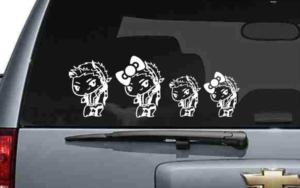 Cute Hawkeye Chibi Stick Family Vinyl Decal Set