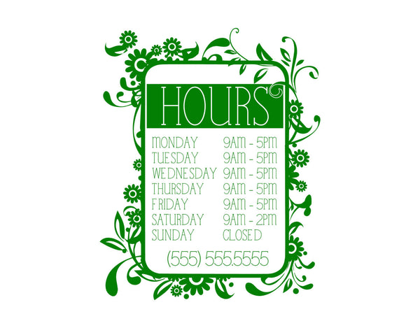 Pretty Nature Themed Office/Shop/Salon Hours Vinyl Decal for Wall, Windows, or Any Smooth/Flat Surface