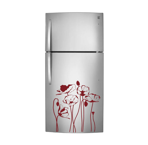 Beautiful Tall Stem Poppies Vinyl Decal for Refrigerators, Dishwashers and More! Tons of Colors Available!