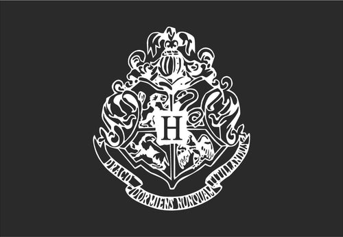"Complex Hogwarts Crest Inspired Vinyl Decal with ""Glowing"" Center H for Apple Laptops and More!"