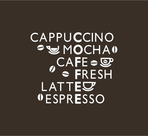 Acrostic Coffee Themed Word Game Wall Art Vinyl Decal